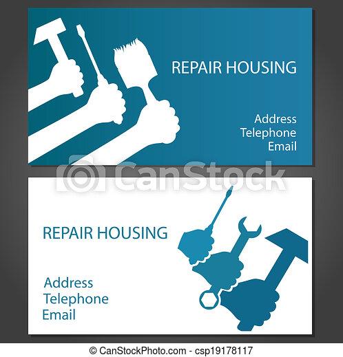 Tarjeta de negocios para reparar casas - csp19178117