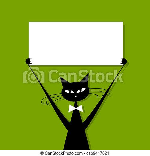 Gato gracioso con tarjeta de visita, lugar para tu texto - csp9417621