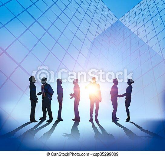 Reunión de negocios abstracta con antecedentes de Sunset City - csp35299009