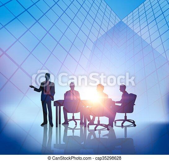 Reunión de negocios abstracta con antecedentes de Sunset City - csp35298628