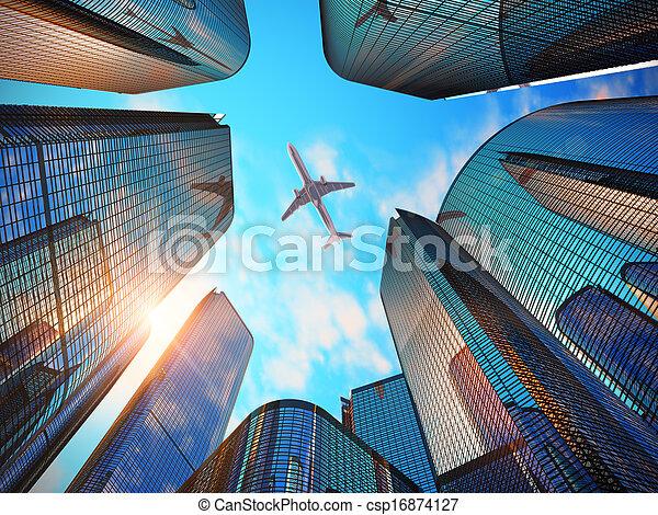 negocio moderno, distrito, rascacielos - csp16874127