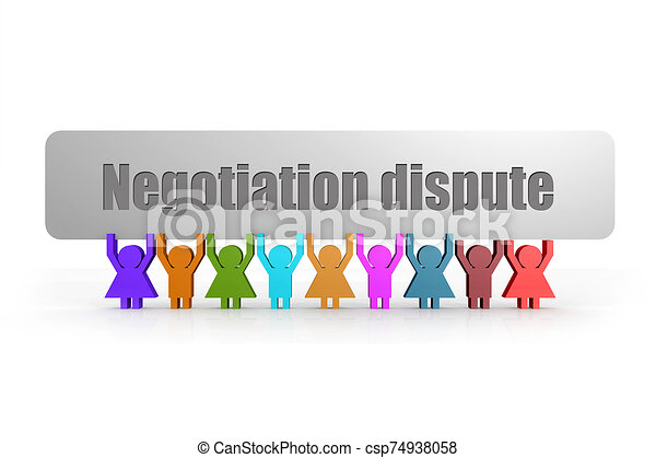 Negotiation dispute word on a banner hold by group of puppets - csp74938058