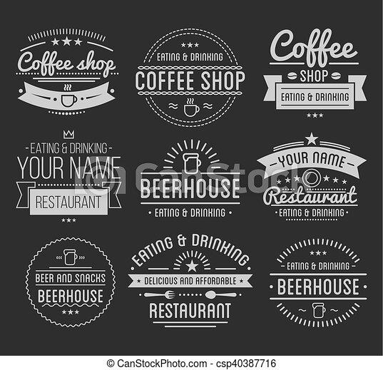 negozio, caffè, ristorante, vendemmia, label., logo., template. - csp40387716
