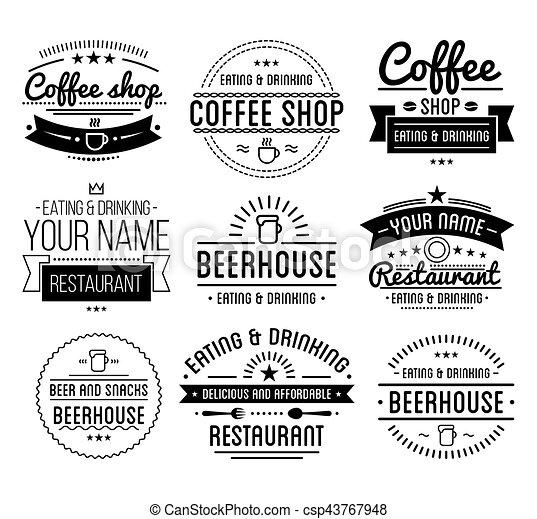 negozio, caffè, ristorante, vendemmia, label., logo., template. - csp43767948