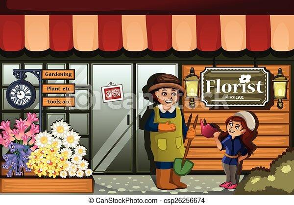 negozio, fiore, giardiniere, capretto - csp26256674