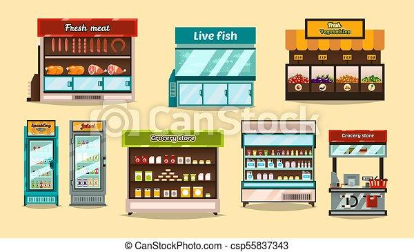 negozio, fish, mensole, succhi, set, beni, dimostrazione, bibite, mostre, interno, frutte, sezioni, verdura, mensola, carne, shelf., supermercato, cibo., vetro, storefronts, containers., refrigerators. - csp55837343