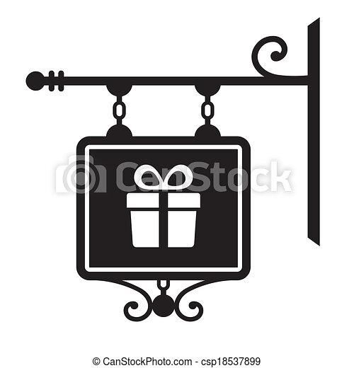 negozio, parete, cartello, appendere - csp18537899