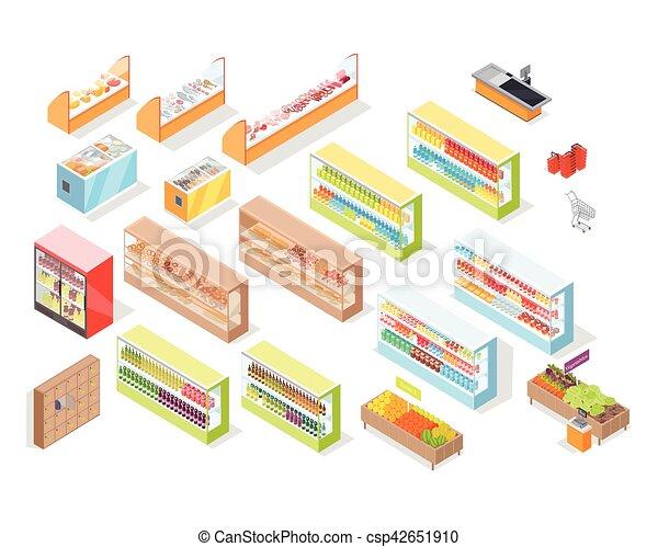 negozio, set, icone, supermercato, dipartimenti, interno - csp42651910