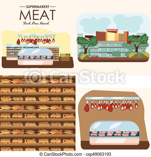 negozio, set, shelfs, latte, fila, salsiccia, interno, cibo, supermercato, dipartimenti, yogurt, negozio, frigorifero, bread, drogheria, mercato, carne, illustrazione, panetteria, vettore, prodotti, fresco - csp49063193