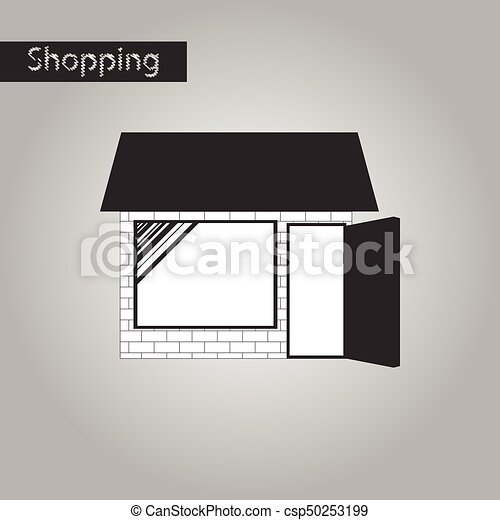 negozio, stile, nero, bianco, icona - csp50253199