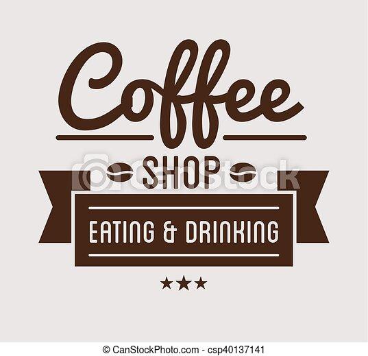 negozio, vendemmia, caffè, logo., sagoma - csp40137141