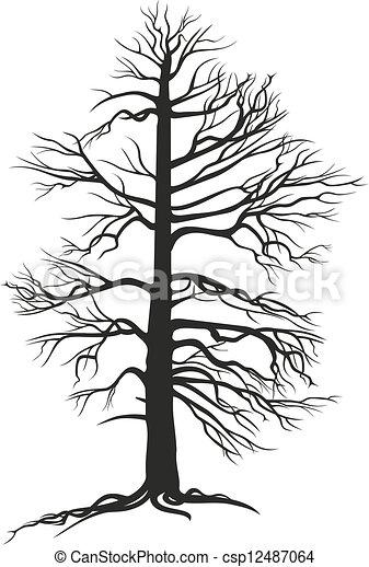 Árbol de rama negra con raíces - csp12487064