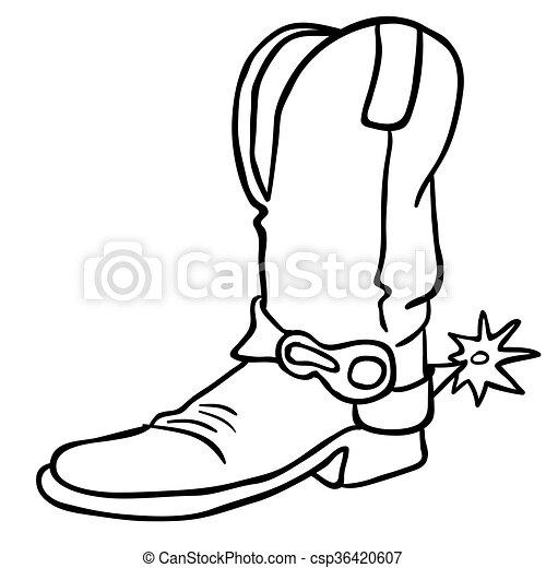 Bota de vaquero blanco y negro. Una simple bota de vaquero y