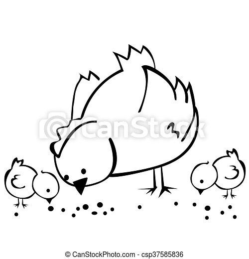 Negro, blanco, gallina, pollos, dos. Pollos, dos, caricatura, negro ...