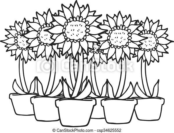 Negro Blanco Girasoles Caricatura Girasoles Freehand Dibujado