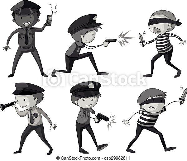 Policía y ladrones en blanco y negro - csp29982811