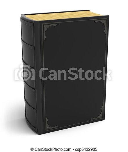 Un viejo libro negro aislado en blanco - csp5432985
