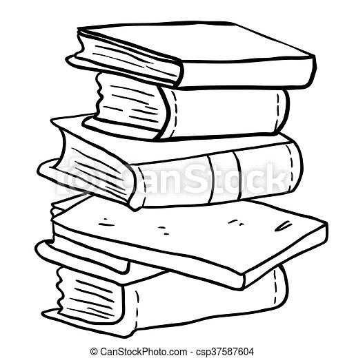 Un Montón De Libros En Blanco Y Negro Un Montón De Dibujos Animados En Blanco Y Negro Canstock