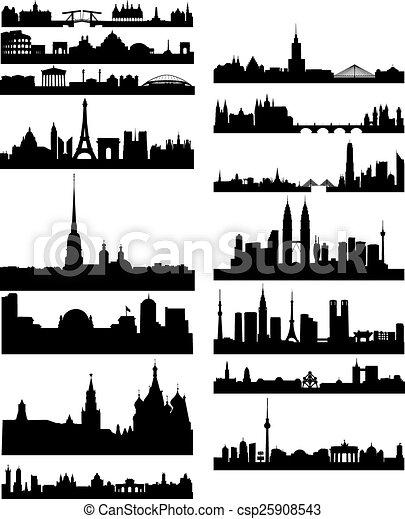 Silueta negra de ciudades famosas - csp25908543