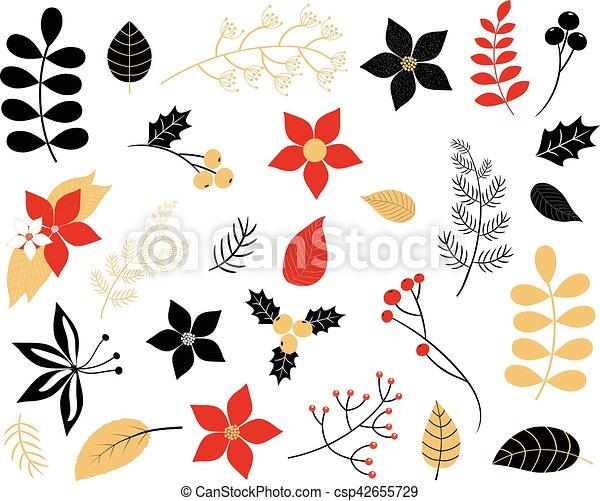 Negro, colores, follaje, oro, rojo. Flores, ramas, invierno, hojas.