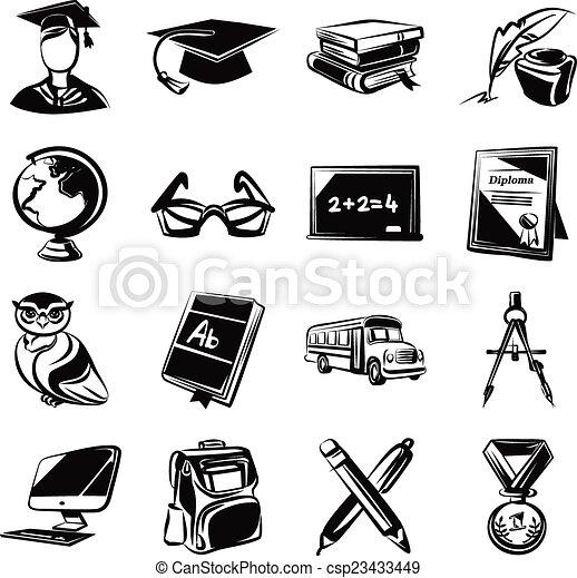 Educación de íconos negros - csp23433449