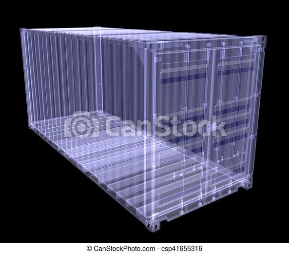 Un contenedor de rayos X aislado en negro - csp41655316