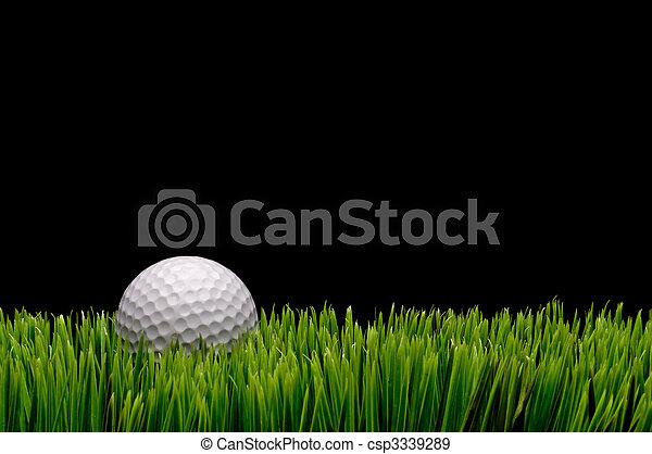 Imagen horizontal de una bola de golf blanca en verde hierba sobre un fondo negro con espacio para copiar - csp3339289