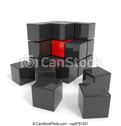 Cubo negro armado con núcleo rojo. - csp8761557