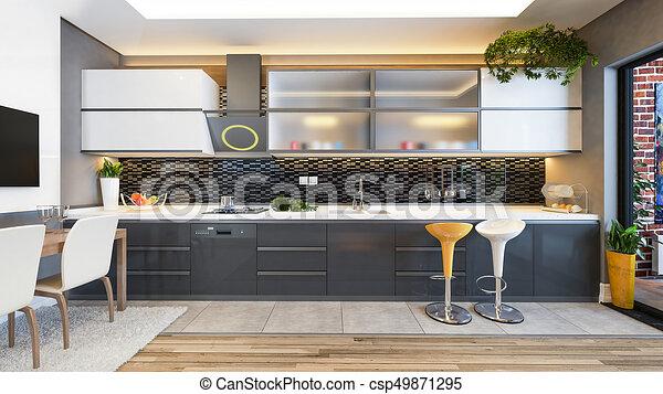 Idea de decoración de cocina negra. Diseño de cocina ...