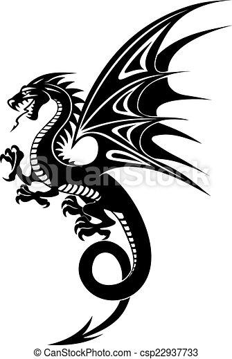 Negro Dragón Peligro Aislado Ilustración Dragón Fondo Vector