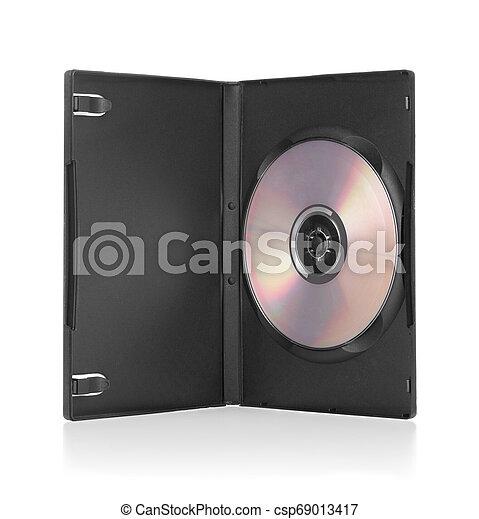 negro, dvd, disco, dentro, blanco, caja, plano de fondo - csp69013417