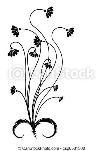 Flor negra silueta en blanco. - csp6531500