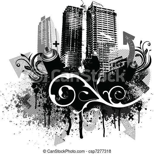 negro, grunge, ciudad - csp7277318