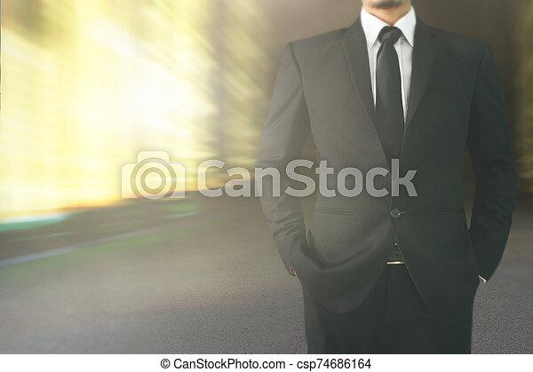 negro, guapo, hombre, traje - csp74686164