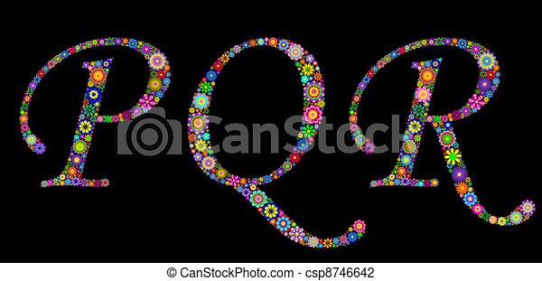 Ilustración de letras en un fondo negro - csp8746642