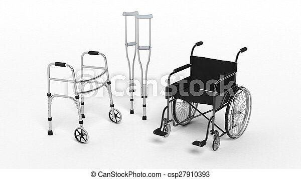 Una silla de ruedas de discapacidad negra, una muleta y un caminante metálico aislado en blanco - csp27910393