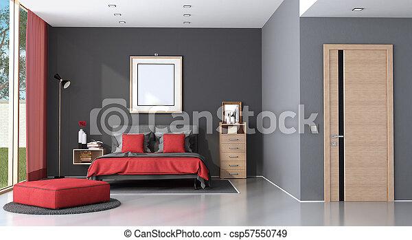 Dormitorio moderno y rojo - csp57550749