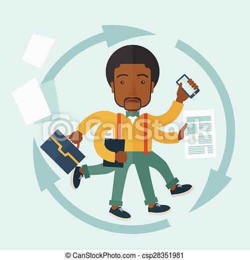 Un negro con trabajo multitarea. - csp28351981