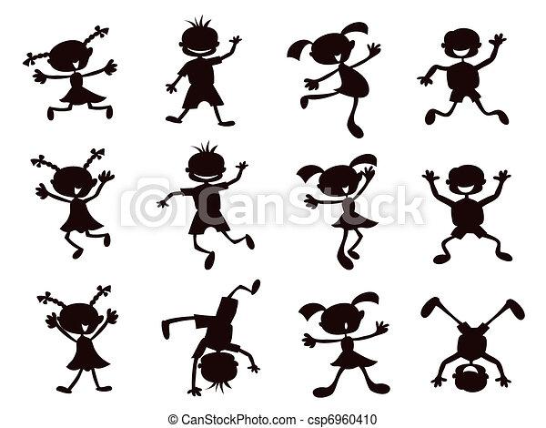 Dibujos animados negros, siluetas - csp6960410