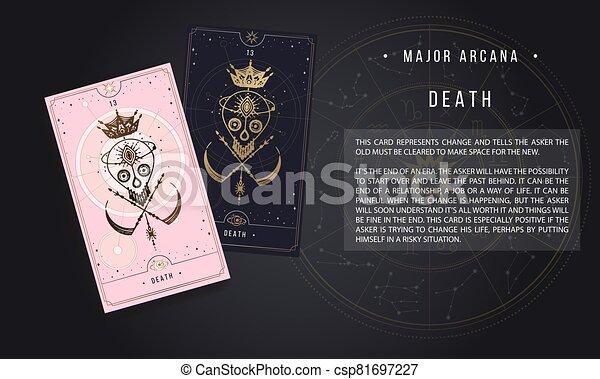 negro, oro, mayor, arcana, magia, plata, rosa, tarjeta del tarot, oro, vector, backgrou, señal, blanco, secreto, tarjetas., ilustración, aislado, inscriptions. - csp81697227