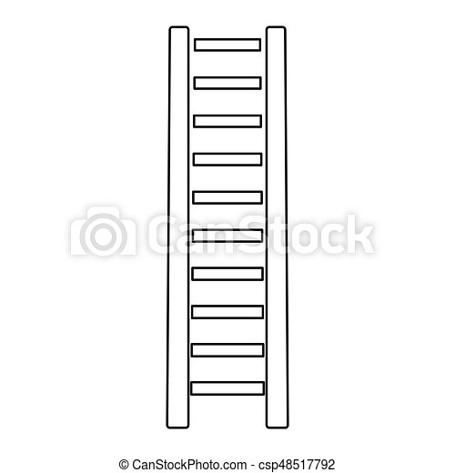 Escalera de madera el icono de color negro. - csp48517792