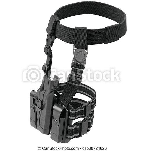 Cinturón negro holster. Ejército holster negro para pistola