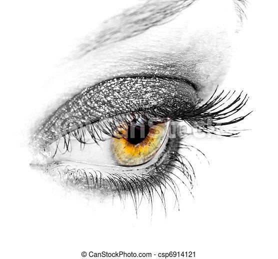 negro, primer plano, ojo - csp6914121