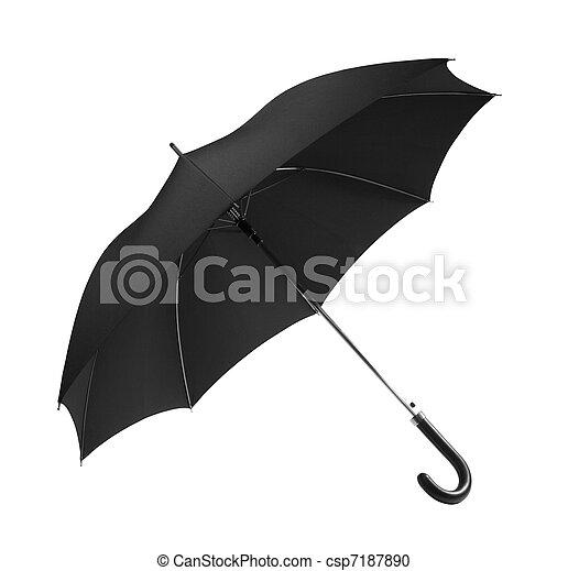 Sombrilla negra con camino de recorte - csp7187890