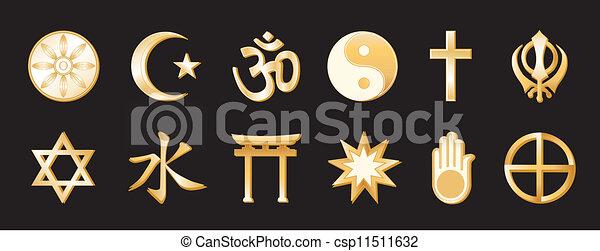 Religión mundial, backgound negro - csp11511632