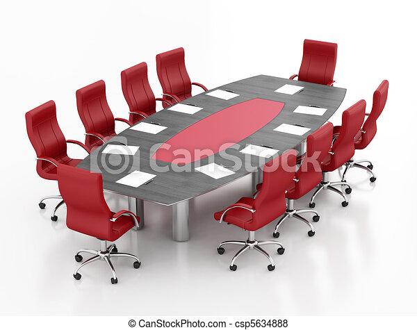 Mesa de reunión roja y negra - csp5634888