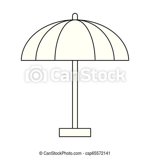 El símbolo del paraguas de playa en blanco y negro - csp65572141