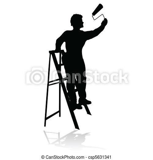 negro, silueta, pintor - csp5631341