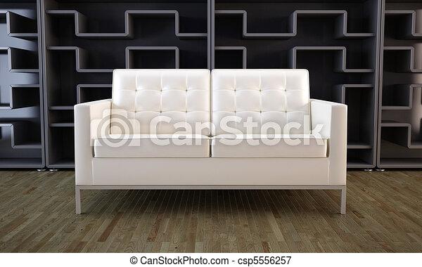 Sofa blanco y estantería negra - csp5556257