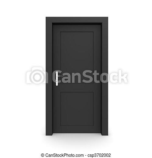 Una puerta negra cerrada - csp3702002